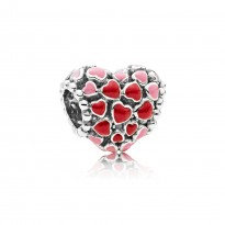 Heart Silver Charm with Red and Pink Enamel