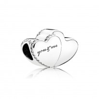 Double Heart Silver Charm with Clear CZ