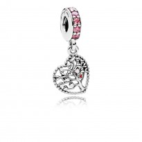 Heart Silver Dangle with Red, Pink Enamel and Pink CZ