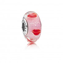 Lip Silver Charm with Iridescent Red, Pink and Transparent Murano Glass