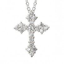 SILVER C.Z. CROSS CHAIN SLIDE FITS UP TO 3MM