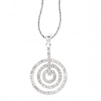 SILVER CONCENTRIC CIRCLE      PENDANT W/ CZ FITS 3MM