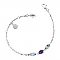 ELLE Sterling Silver 8 in. Amethyst and Swiss Blue Topaz Bracelet