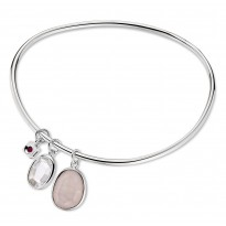 ELLE Sterling Silver 8 in. Rose Quartz and White Crystal Bangle