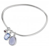 ELLE Sterling Silver 8 in. Blue Lace Agate and Created Blue Quartz Bangle