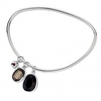 ELLE Sterling Silver 8 in. Black Agate and Smoky Quartz Bangle