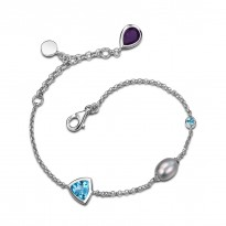 ELLE Sterling Silver 8.25 in. Amethyst, Grey Pearl, and Swiss Blue Topaz Bracelet
