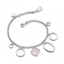 ELLE Sterling Silver 7 in. + 1.5 in. Rose Quartz and White Crystal Bracelet