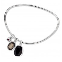 ELLE Sterling Silver 8.5 in. Black Agate and Smoky Quartz Bangle
