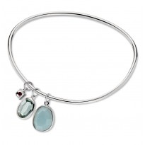 ELLE Sterling Silver 8.5 in. Amazonite and Created Green Quartz Bangle