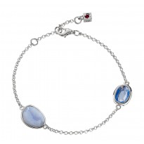 ELLE Sterling Silver 7.5 in. Blue Lace Agate and Created Blue Quartz Bracelet