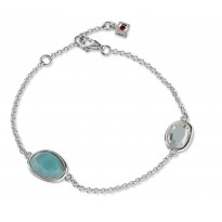 ELLE Sterling Silver 7.5 in. Amazonite and White Crystal Bracelet
