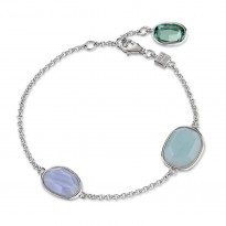 ELLE Sterling Silver 7.5 in. Amazonite, Blue Lace Agate, and Created Green Quartz Bracelet
