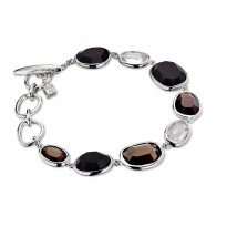 ELLE Sterling Silver 7.5 in. Black Agate, Smoky Quartz, and White Crystal Bracelet