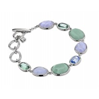 ELLE Sterling Silver 7.5 in. Amazonite, Blue Lace Agate, Created Blue Quartz, and Created Green Quartz Bracelet