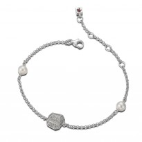 ELLE Sterling Silver 6.5 in. + 1.5 in. Pearl and Micro Pave CZ Bracelet