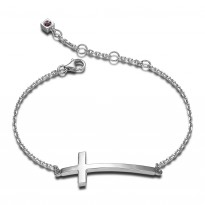 ELLE Sterling Silver 6.5 in. + 1.5 in. Cross Bracelet