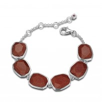 ELLE Sterling Silver 6.5 in. + 1.5 in. Brown Goldstone Bracelet