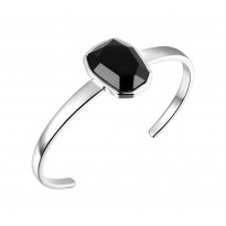 ELLE Sterling Silver 6.5 in. Black Agate Cuff