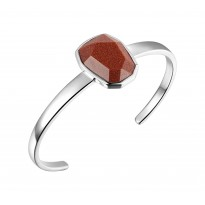 ELLE Sterling Silver 6.5 in. Brown Goldstone Cuff