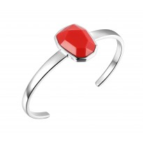 ELLE Sterling Silver 6.5 in. Created Coral Cuff