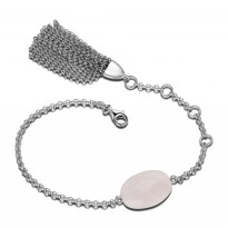 ELLE Sterling Silver 6 in. + 1.5 in. Rose Quartz Bracelet