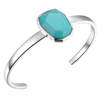ELLE Sterling Silver 6.5 in. R. Turquoise Cuff