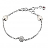 ELLE Sterling Silver 6 in. + 2 in. Pearl And Micro Pav CZ Bracelet