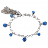 ELLE Sterling Silver 7.5 in. Light And Dark Blue Agate Bracelet