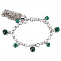 ELLE Sterling Silver 7.5 in. Light And Dark Green Agate Bracelet