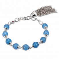 ELLE Sterling Silver 7.5 in. Blue Agate Bracelet