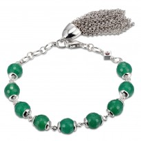 ELLE Sterling Silver 7.5 in. Green Agate Bracelet