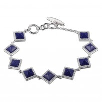 ELLE Sterling Silver 7 in. + 1.5 in. Created Lapis And Micro Pav CZ Bracelet