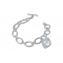 ELLE Sterling Silver 7.5 in. Dyed Blue MOP and White Crystal Doublet with Created Corundum Surround Bracelet