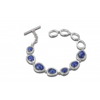 ELLE Sterling Silver 7.25 in. Lapis and Micro Pave CZ Bracelet
