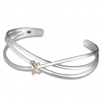 ELLE 7.25 in. Sterling Silver & 14kt Gold Plated Sparkling CZ Cuff