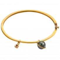 ELLE 7.25 in. Hematite, Sterling Silver & 14kt Gold Plated Cuff