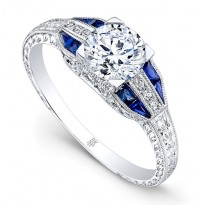 Beverly K Diamond & Sapphire Engagement Ring