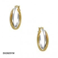 14KT YG/WG POLISHED CROSS OVER DOUBLE SQUARE TUBE HOOP