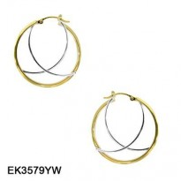 14KT YG 29MM HOOP WITH WG ELONGATED X CENTER