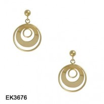 14KT YG FRAMED CIRCLE DANGLE WITH BALL & POST TOP