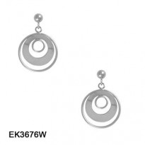 14KT WG FRAMED CIRCLE DANGLE WITH BALL & POST TOP