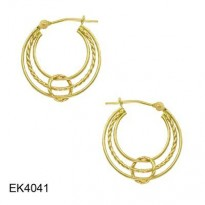 14KT YG POLISHED & ROPE TUBE MULTI HOOP WITH CIRCLE WRAP