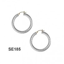 STERLING SILVER 20MM CABLE HOOP WITH 14KT YG POST