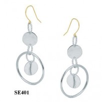 STERLING SILVER MULTI CIRCLE  DANGLE ON 14KT YG WIRE
