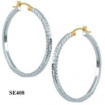 STERLING SILVER 33MM DIAMOND CUT SQUARE TUBE HOOP WITH 14KT YG POST