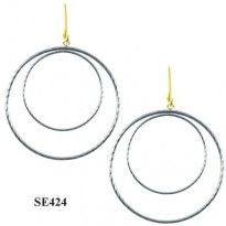 STERLING SILVER 50X33MM DBL CIRCLE  ROPE DANGLE ON 14KT YG WIRE