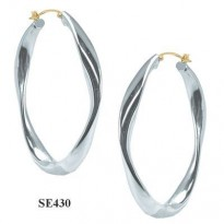 STERLING SILVER 48x34MM OVAL TWIST HOOP WITH 14KT YG POST