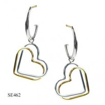 14KT YG & STERLING SILVER DBL HEART CHARM ON STERLING SILVER J HOOP WITH 14KT YG POST