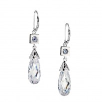 ELLE Sterling Silver Sky Blue Topaz and CZ Lever Back Earrings